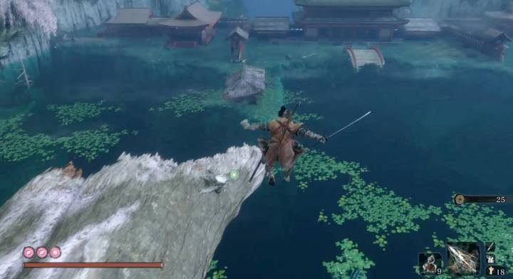 Jump into the lake and dive to its bottom in the middle - Headless (underwater) #3   Sekiro Shadows Die Twice Boss Fight - Bosses - Sekiro Guide and Walkthrough