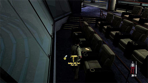SECRET 7 [Golden Gun - M10 3/3]: In the Trophy Room, on one of VIPs section armchairs - Clues and Golden Guns - Chapter III - Collectibles - Max Payne 3 - Game Guide and Walkthrough