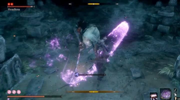 Only with Divine confetti you will be able to cause real damage to the boss. - Headless #4   Sekiro Shadows Die Twice Boss Fight - Bosses - Sekiro Guide and Walkthrough
