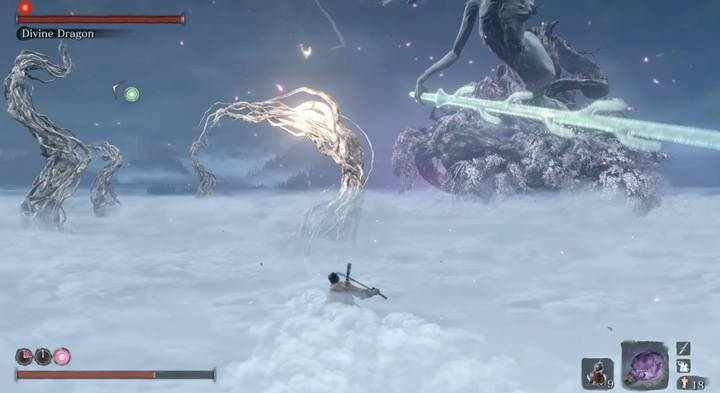 Do not jump on an electrified branch when the enemy is preparing to attack - Divine Dragon - main boss in Sekiro: Shadows Die Twice game - Bosses - Sekiro Guide and Walkthrough