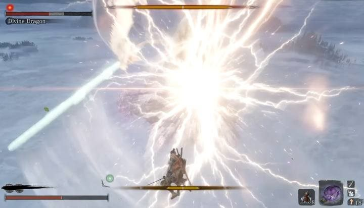 Reflect lightning in the air to deal damage to the dragon - Divine Dragon - main boss in Sekiro: Shadows Die Twice game - Bosses - Sekiro Guide and Walkthrough