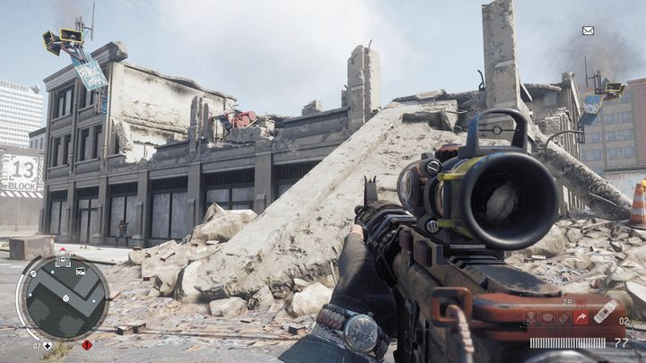 An entrance to another warehouse can be found in the western part of a ruined building - Holloway - Red zone | Journals and jobs - Journals and jobs - Homefront: The Revolution Game Guide & Walkthrough