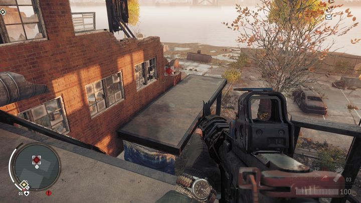 Go in the direction of the stairs, and move to a small balcony seen on the screenshot - Elmtree - Red zone | Key Points - Key Points - Homefront: The Revolution Game Guide & Walkthrough