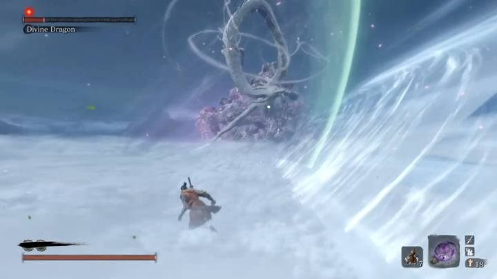 When the boss has approx. 20% health, at the time the branch will not appear - Divine Dragon - main boss in Sekiro: Shadows Die Twice game - Bosses - Sekiro Guide and Walkthrough