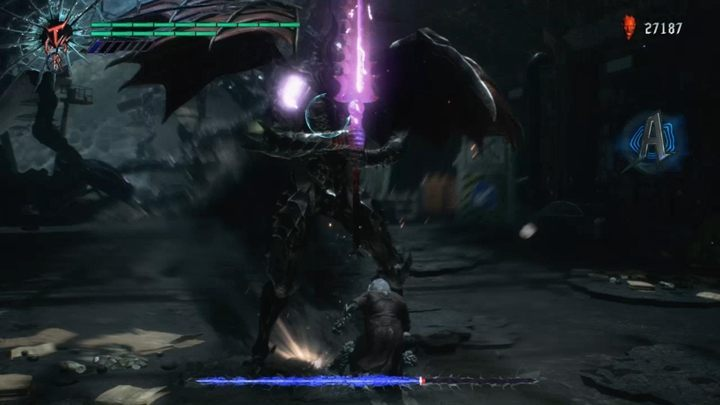 The enemy will try to attack you with a sword - a well-timed attack will deflect his blows, giving you all the time, you need to attack - Cavaliere Angelo Boss Fight Guide for DMC5 - Bosses - Devil May Cry 5 Guide