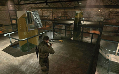 At the top of the scaffolding on the right [#8] (heading towards the office) - Mission 2   Wine Bottles and Gold Bars - Wine Bottles and Gold Bars - Sniper Elite V2 Game Guide & Walkthrough