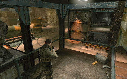 At the top of the scaffolding on the right [#9] (heading towards the office) - Mission 2   Wine Bottles and Gold Bars - Wine Bottles and Gold Bars - Sniper Elite V2 Game Guide & Walkthrough