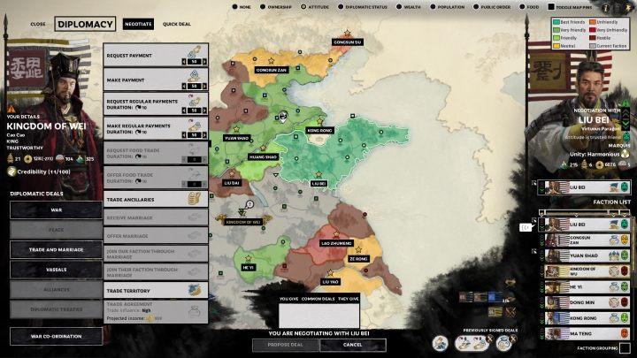 Po kliknięciu NEGOTIATE wyświetli się lista wszystkich dostępnych opcji dyplomatycznych i handlowych. - Dyplomacja i handel w Total War Three Kingdoms - Total War Three Kingdoms - poradnik do gry