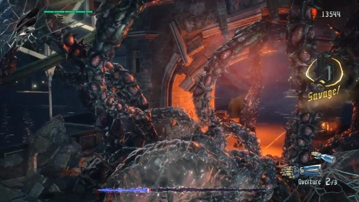 In the background, the enemy will attack you with powerful tentacles, but they are very slow and you can easily avoid an attack - Qliphoth Roots Boss Fight Guide for DMC5 - Bosses - Devil May Cry 5 Guide