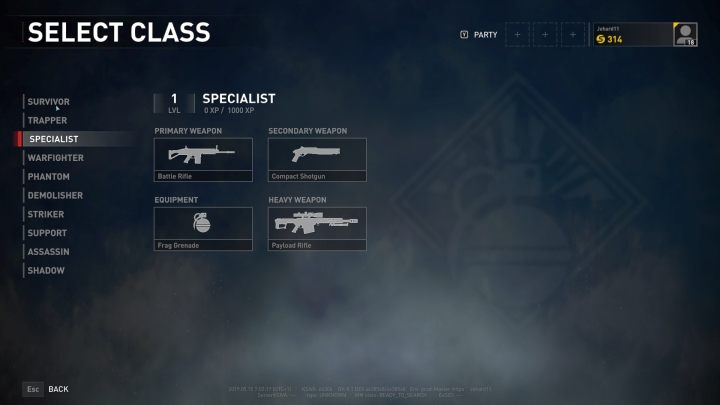 The Specialist class selection screen. - Player vs Player World War Z - character classes - Player vs Player mode - World War Z Guide
