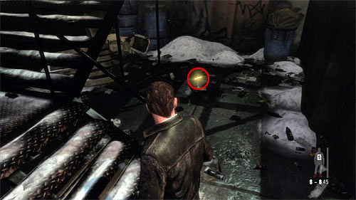 SECRET 3 [Golden Gun - 1911 Revolver 3/3]: Under the stairs linking the back exit of the bar with the parking - Clues and Golden Guns - Chapter IV - Collectibles - Max Payne 3 - Game Guide and Walkthrough