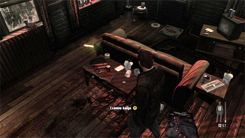 SECRET 4 [Clue 1/3 - Maxs NYPD Badge]: On the table in the Maxs flat - Clues and Golden Guns - Chapter IV - Collectibles - Max Payne 3 - Game Guide and Walkthrough