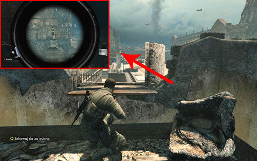The bottle can be easily seen before leaving the starting building - on one of the pillars [#1] of the main gate leading onto the streets - Mission 3   Wine Bottles and Gold Bars - Wine Bottles and Gold Bars - Sniper Elite V2 Game Guide & Walkthrough