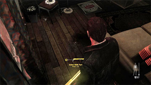 SECRET 5 [Golden Gun - M500 Shotgun 1/3]: On the floor in the Maxs flat - Clues and Golden Guns - Chapter IV - Collectibles - Max Payne 3 - Game Guide and Walkthrough