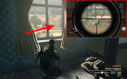 After obtaining a new sniper rifle, look out one of the windows - in the distance you should see a small square beneath a dome [#3] with two soldiers on it - Mission 3   Wine Bottles and Gold Bars - Wine Bottles and Gold Bars - Sniper Elite V2 Game Guide & Walkthrough