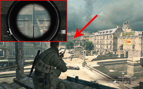 As you evacuate, before jumping onto the street, look almost perfectly straight towards one of the pillars [#4] - Mission 3   Wine Bottles and Gold Bars - Wine Bottles and Gold Bars - Sniper Elite V2 Game Guide & Walkthrough