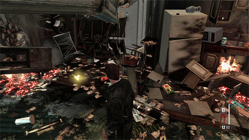 SECRET 8 [Golden Gun - SAF 40 Cal SMG 1/3]: In the destroyed apartment to which entrance is nearby the staircase - Clues and Golden Guns - Chapter IV - Collectibles - Max Payne 3 - Game Guide and Walkthrough