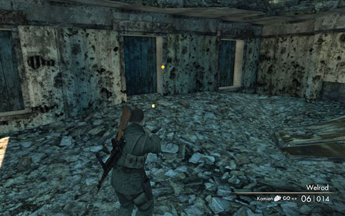 Inside the first building you pass by [#1] on the left, while going along the street that you had to clear - Mission 3   Wine Bottles and Gold Bars - Wine Bottles and Gold Bars - Sniper Elite V2 Game Guide & Walkthrough