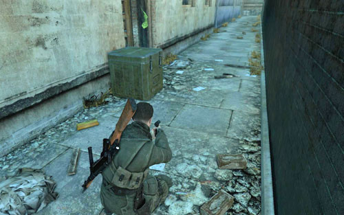 At the end of a long street [#3], right behind a crate, beside a door - Mission 3   Wine Bottles and Gold Bars - Wine Bottles and Gold Bars - Sniper Elite V2 Game Guide & Walkthrough