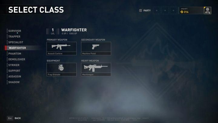 The Warfighter class selection screen. - Player vs Player World War Z - character classes - Player vs Player mode - World War Z Guide