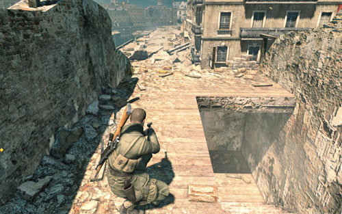 On the building beside which theres a four-man patrol [#5] - Mission 3   Wine Bottles and Gold Bars - Wine Bottles and Gold Bars - Sniper Elite V2 Game Guide & Walkthrough