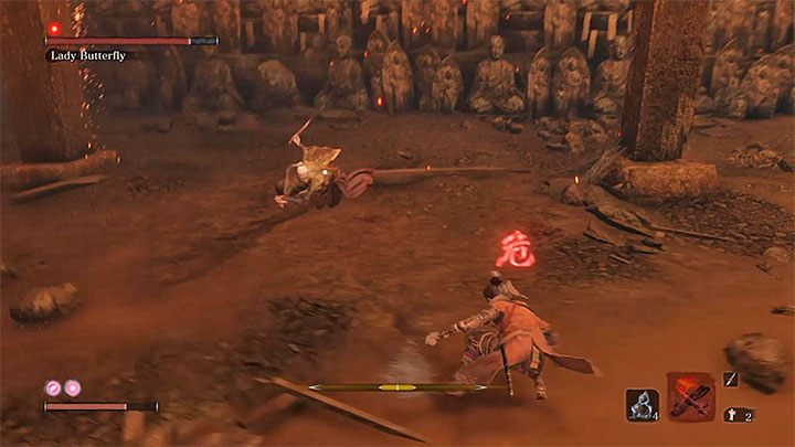Lady Butterfly can also use fast melee attacks - Lady Butterfly   Sekiro Shadows Die Twice Boss Fight - Bosses - Sekiro Guide and Walkthrough