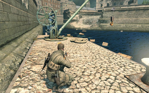 By the crane on the other side of the bridge [#8] - as you evacuate from the museum - Mission 3   Wine Bottles and Gold Bars - Wine Bottles and Gold Bars - Sniper Elite V2 Game Guide & Walkthrough
