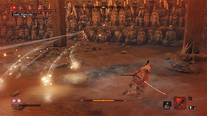 Ее вторая атака - серия самонаводящихся ракет - Lady Butterfly   Sekiro Shadows Die Twice Boss Fight - Боссы - Руководство по Sekiro и прохождение игры