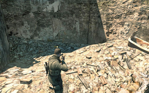 Inside the ruins passed by on the left [#9] - not in the building but right behind it, where theres absolutely nothing left but rubble - Mission 3   Wine Bottles and Gold Bars - Wine Bottles and Gold Bars - Sniper Elite V2 Game Guide & Walkthrough