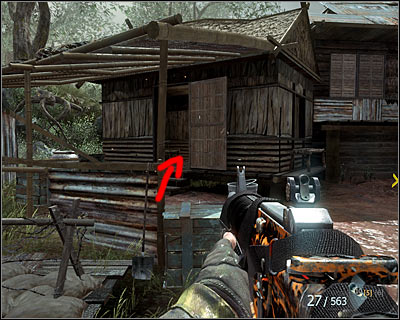 Stop soon after the begging of a battle in the village, more precisely after reaching the place where you have to turn right and come up to the river - Victor Charlie | Intel - Intel location - Call of Duty: Black Ops Game Guide & Walkthrough