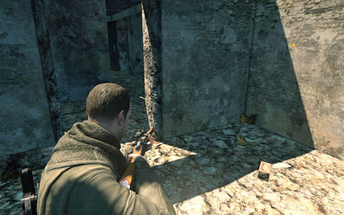 Inside the ruined building on the right - head inside through the main entrance and pass by the stairs - Mission 3   Wine Bottles and Gold Bars - Wine Bottles and Gold Bars - Sniper Elite V2 Game Guide & Walkthrough