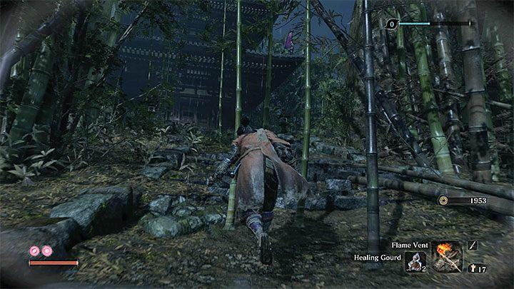 Доберитесь до дома на холме (см. Рисунок выше) - Безымянный фиолетовый враг в масках   Sekiro Shadows Die Twice Boss Fight - Боссы - Руководство по Sekiro и прохождение игры