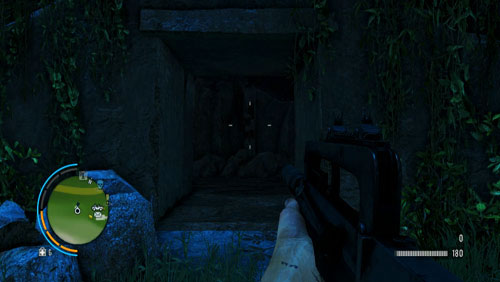 Reach the area marked in the screenshot, to find the side-entrance to the bunker - The Southern Island - South-western part - Letters of the Lost - Far Cry 3 - Game Guide and Walkthrough