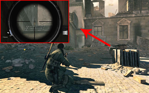 The bottle can be found at the very beginning of a narrow alley [#1] which you have to enter at the beginning - Mission 4   Wine Bottles and Gold Bars - Wine Bottles and Gold Bars - Sniper Elite V2 Game Guide & Walkthrough