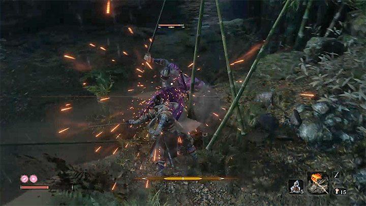 Фиолетовый враг фокусируется на быстрых атаках с его катаной в сочетании с прыжками - Безымянный замаскированный фиолетовый враг   Sekiro Shadows Die Twice Boss Fight - Боссы - Руководство по Sekiro и прохождение игры