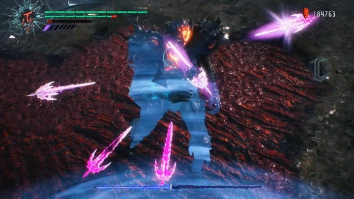 The enemy has the same attacks as before but he can now teleport and create phantom blades that will attack you from a distance - Urizen (Mission 17) Boss Fight Guide for DMC5 - Bosses - Devil May Cry 5 Guide