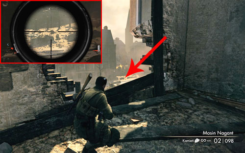 The bottle is standing on a wall right before the execution site [#3] - Mission 4   Wine Bottles and Gold Bars - Wine Bottles and Gold Bars - Sniper Elite V2 Game Guide & Walkthrough