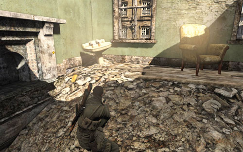 After eliminating the first enemy, by going further along the road you will come across a building on the left which you can enter [#1] - Mission 1   Wine Bottles and Gold Bars - Wine Bottles and Gold Bars - Sniper Elite V2 Game Guide & Walkthrough