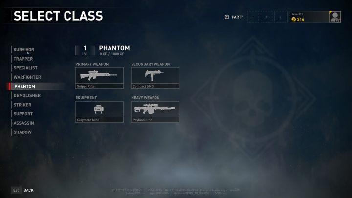 The Phantom class selection screen. - Player vs Player World War Z - character classes - Player vs Player mode - World War Z Guide