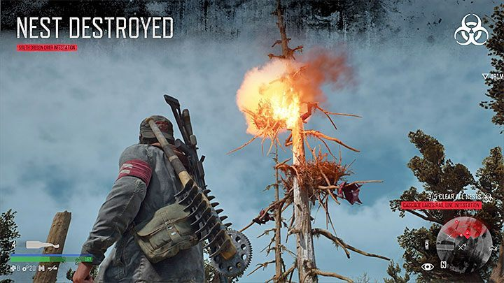 The second version of nests, used by mutated birds, appear in the southern part of the map - Trophies of Days Gone - Trophies and achievement - Days Gone Guide