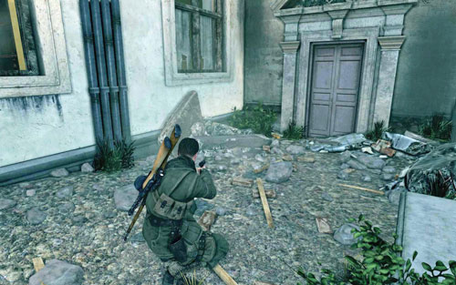 The gold can be found beside a gate at the end of a narrow street [#1] - Mission 4   Wine Bottles and Gold Bars - Wine Bottles and Gold Bars - Sniper Elite V2 Game Guide & Walkthrough