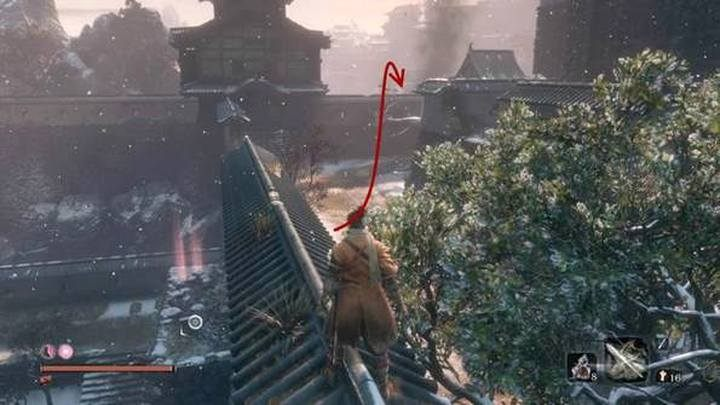 From the Fortress point at the castle gate, in Ashina Outskirts (this point is located next to the valley where you run away from The White snake) move through the walls of the fortifications, to the battle square behind the buildings - Gyoubu Oniwa   Sekiro Shadows Die Twice Boss Fight - Bosses - Sekiro Guide and Walkthrough