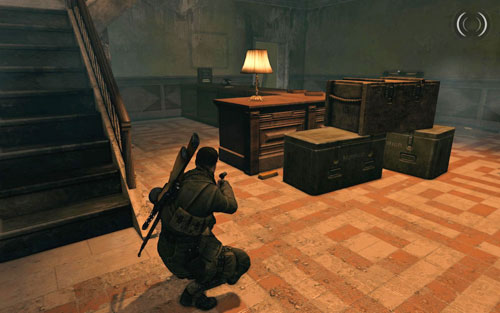 After you enter the building, right beside the counter by the crates [#2] - Mission 4   Wine Bottles and Gold Bars - Wine Bottles and Gold Bars - Sniper Elite V2 Game Guide & Walkthrough