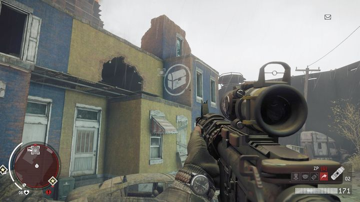 The first Warehouse is depicted above - Old town - Red zone | Journals and jobs - Journals and jobs - Homefront: The Revolution Game Guide & Walkthrough