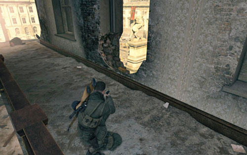 Turn left after going up the stairs - the gold is on whats left of the window [#10] - Mission 4   Wine Bottles and Gold Bars - Wine Bottles and Gold Bars - Sniper Elite V2 Game Guide & Walkthrough