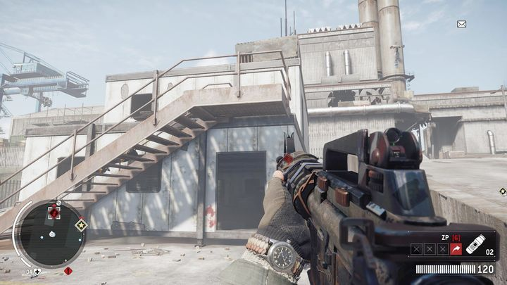 The entrance to the building is shown on the screenshot - Elmtree - Red zone | Key Points - Key Points - Homefront: The Revolution Game Guide & Walkthrough