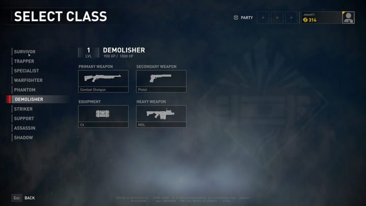 The Demolisher class selection screen. - Player vs Player World War Z - character classes - Player vs Player mode - World War Z Guide