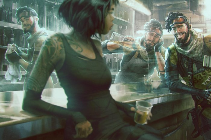 Concept art of the character Mirage in Apex Legends,