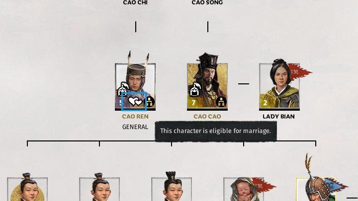 Przy postaci nadającej się do małżeństwa wyświetli się ikonka z dwoma sercami. - Dyplomacja i handel w Total War Three Kingdoms - Total War Three Kingdoms - poradnik do gry