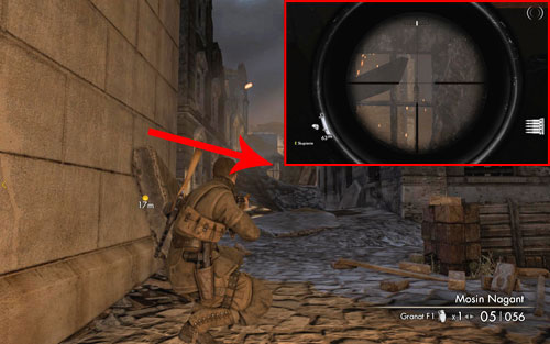 After heading into the first building and going to its back, the bottle can be found on a frame of a destroyed window [#1] in the distance, right beside a small street - Mission 5   Wine Bottles and Gold Bars - Wine Bottles and Gold Bars - Sniper Elite V2 Game Guide & Walkthrough